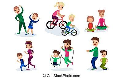 セット, 包含, ベクトル, 親, 特徴, ∥(彼・それ)ら∥, スポーツ, 子供, 漫画, イラスト