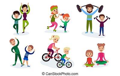 セット, 包含, 親, 特徴, ∥(彼・それ)ら∥, スポーツ, 子供, 漫画, イラスト