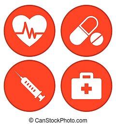 セット, 医学, ボタン, 赤, アイコン