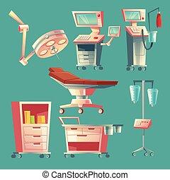 セット, 医療の装置, ベクトル, 手術, 病院, 漫画