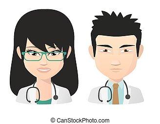 セット, 医者, アジアの女性, マレ, avatar