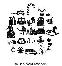 セット, 単純である, スタイル, おもちゃ, アイコン