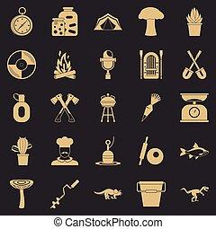 セット, 単純である, スタイル, キャンプ, アイコン