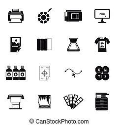セット, 単純である, スタイル, 印刷, アイコン