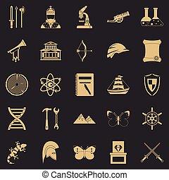 セット, 単純である, スタイル, 古代, アイコン