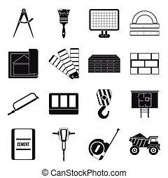 セット, 単純である, スタイル, 建設, アイコン