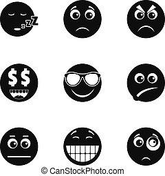 セット, 単純である, スタイル, emoji, アイコン