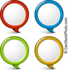 セット, 単純である, ベクトル, 泡, ラウンド, 3d