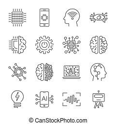 セット, 単純である, 知性, icons., 人工, ベクトル, 関係した, 線