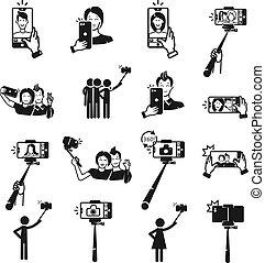 セット, 単純である, selfie, スタイル, アイコン