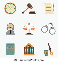 セット, 印, 正義, 裁判官, 法律, アイコン