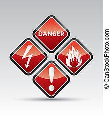 セット, 危険の印, 警告, コーナー, ラウンド
