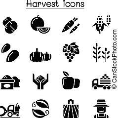 セット, 収穫, アイコン