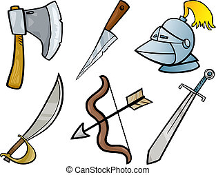 セット, 古い, イラスト, 武器, オブジェクト, 漫画