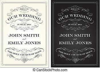 セット, 古い, フレーム, ベクトル, 作られた, 結婚式