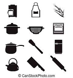 セット, 台所用品, 道具, アイコン