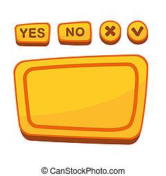 セット, 合意, 漫画, ボタン, ベクトル, ui, style., パネル