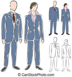 セット, 図画, スーツ