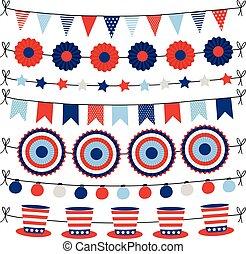 セット, 国民, ペーパー, colors., objects., design., 旗布, 網, アメリカ, 隔離された, 日, パーティー, 休日, 独立, 幸せ, 旗, 第4, 装飾, 7月, ベクトル, 旗, garlands., 旗, イラスト