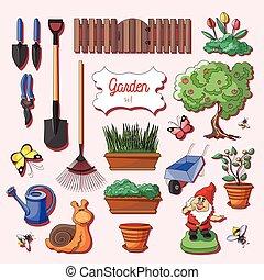 セット, 園芸, アイコン