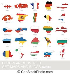 セット, 地図, ヨーロッパの旗, 国