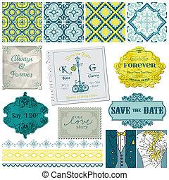 セット, 型, -, ベクトル, デザイン, 結婚式, スクラップブック, 要素