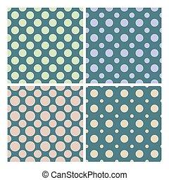 セット, 型, ポルカ, seamless, ベクトル, 1950, パターン, 点
