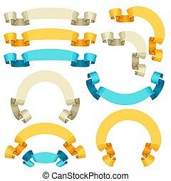 セット, 型, ラベル, コレクション, バッジ, デザイン, レトロ, ribbons., 要素