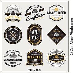 セット, 型, ラベル, ビール, ロゴ, バッジ