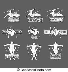 セット, 型, ラベル, 要素, デザイン, スキー