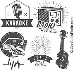 セット, 型, ラベル, 隔離された, カラオケ, ベクトル, 蓄音機, ギター, 背景, 受信機, 音楽, 白, style., ラジオマイクロホン