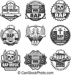 セット, 型, ラベル, 音楽, コツコツという音, モノクローム