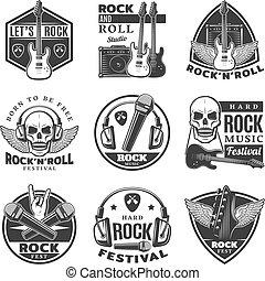 セット, 型, ラベル, 音楽, 岩, モノクローム