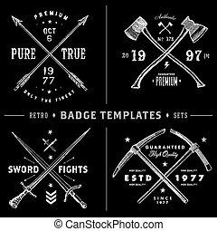 セット, 型, レトロ, テンプレート, ロゴ, x, バッジ