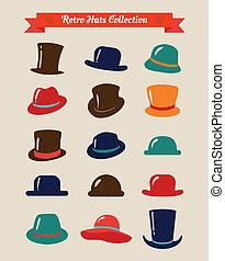 セット, 型, 帽子, 情報通, レトロ, アイコン
