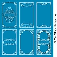 セット, 型, 挨拶, calligraphic, invitation., レトロ, テンプレート, 結婚式, フレーム, 線, カード, カード。