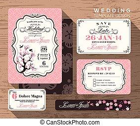 セット, 型, 結婚式, デザイン, テンプレート, 招待