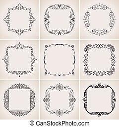 セット, 型, decoration., calligraphic, ベクトル, フレーム, ページ