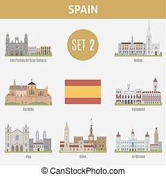 セット, 場所, 有名, 2, スペイン, cities.
