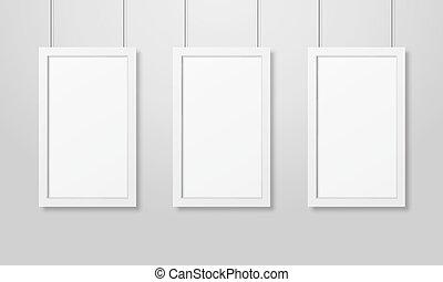セット, 壁フレーム, 現代, デザイン, ブランク, フレーム, 掛かること, ロープ, 3, mockup, テンプレート, 内部, 白, プレゼンテーション, 空, 映像, ポスター, 木製である, mock-up., 現実的, ベクトル