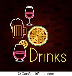 セット, 壁, テキスト, ネオン 印, 飲料, れんが, 飲み物