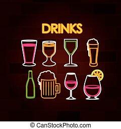 セット, 壁, ネオン 印, れんが, 飲み物
