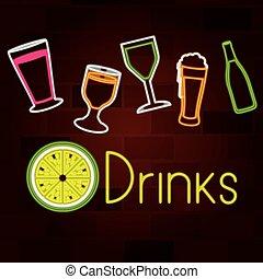 セット, 壁, ネオン 印, ガラスレンガ, 飲み物
