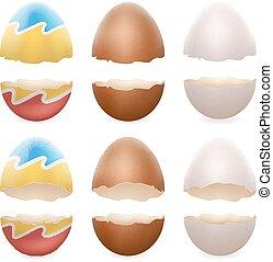 セット, 壊される, 開いた, 卵, 卵の殼, 隔離された, イラスト, 現実的, ベクトル, デザイン, アイコン, 割れた, イースター, 3d