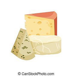 セット, 変化, 3, イラスト, バックグラウンド。, ベクトル, 白, cheese.