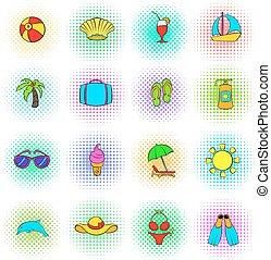 セット, 夏, スタイル, pop-art, アイコン