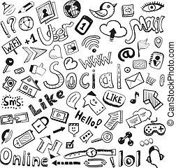 セット, 大きい, 現代, 手, ベクトル, doodles, 引かれる, icons:, 社会