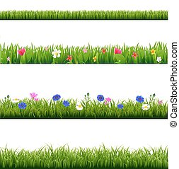 セット, 大きい, 草, 緑, 春, ボーダー, 花