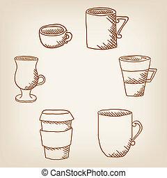 セット, 大袈裟な表情をする, drawncoffee, 手, ベクトル, カップ