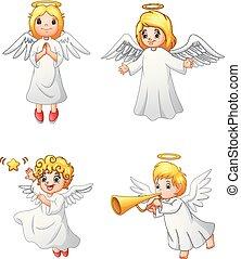 セット, 天使, 漫画, コレクション